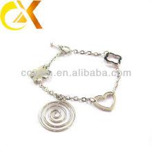 Pulseira de jóias de aço inoxidável com pingente de coração e flor para menina linda