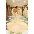Großhandels-korea-Art-große Schwanzblumen-weiße Farbe wulstige Spitze Luxushochzeitskleid