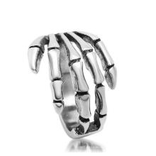 Темный Готический Скелет Руки Нержавеющей Кольцо Старинные Серебряные