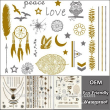 Men Flash design Waterproof Disposable Golden Tattoo Sticker Design Water Transfer Temporary Tattoo Wholesale YS018
