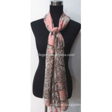 High Quality Women Polyester Printed Scarf Shawl with Fringe