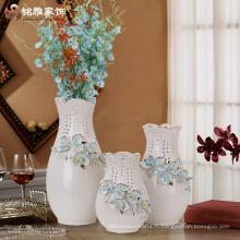 Vente en gros de décoration de maison d'hôtel vase à fleurs en céramique blanche