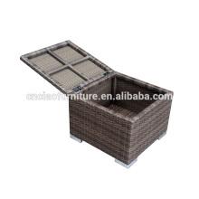 Caja de cojín de almacenamiento de mimbre al aire libre / otomana con cojín