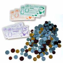 Moeda de dinheiro de plástico como brinquedo de aprendizagem