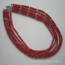 Lange Multi steht Coral und Kristall Halskette