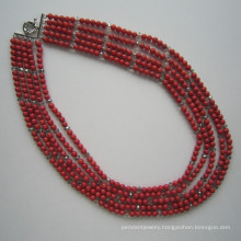 Long Multi Stands Coral and Crystal Necklace