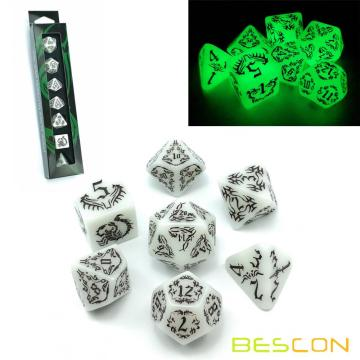 BESCON DARK ELVES Glowing Dice Set (7 piece), Oversized GLOW IN DARK Carved Role Playing Games RPG Dice Set