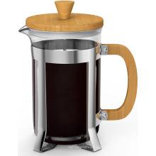 Venda quente De Vidro De Pirosilicato de Borosilicato e Bambu De Madeira Francês Imprensa Fabricante de Chá de Café Espresso com Aço Inoxidável êmbolo