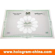 Certificado de marca d'água de carimbo quente anti-falsificação feito sob encomenda