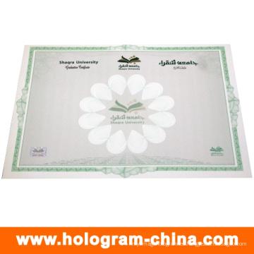 Certificado de marca de agua de estampado en caliente antifalsificación personalizado