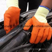Guantes revestidos de látex azul Palm en 10 calibre gris 5 hilos Shell de algodón transparente, guantes de acabado arrugado