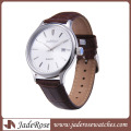 Mem′s Quartz Watch with Leather Strap Stainless Steel Watch