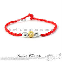 Neueste silberne Perlen Armbänder rote geflochtene Seil Armband Großhandel