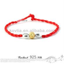 Newest silver beaded bracelets red braided rope bracelet wholesale