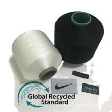 Strong china supplier recycled plastic yarn grs polyester recycled yarn for weaving ribbon label