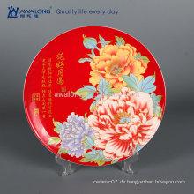 Hübsche Entwurfs-Blumen-Malerei-Foto besonders angefertigte feine Knochen-China-dekorative Mosaik-Platten, dekorative keramische Platten für Hochzeit