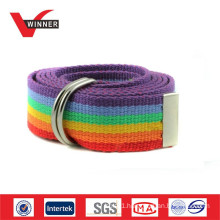 D ring rainbow canvas belt