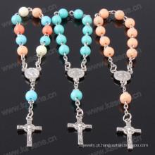 Aceitável plástico personalizado grânulos rosário pulseira usada como presentes cristãos