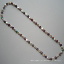 Collar de agua dulce de la perla caliente largo de la perla, joyería de la manera