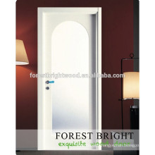 CNC carving MDF modern design white primed molded interior door with glass