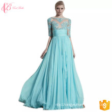 2017 New Blue Short Sleeve Tight Transparent Patterns Of Lace Evening Cinderella Dresses Ladies