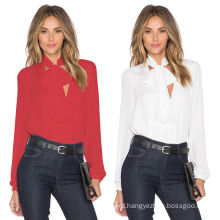 Hot Sale Women Long Sleeve Chiffon Blouse