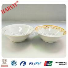 Fabricantes de cuenco de porcelana blanca / cuencos de cerámica baratos importados a África / cuencos de gres de borde de plata
