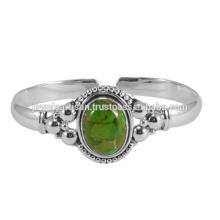 Натуральный Зеленый Меди Бирюзовый Драгоценных Камней 925 Серебряный Браслет