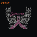 Swivivan Wing Pink Ribbon ferro no motivo de strass