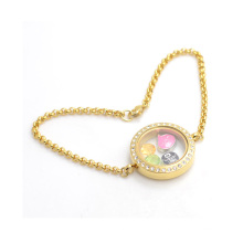 Fancy women crystal stainless steel chain bracelet,gold living photos floating bracelet