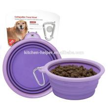 Großhandelsfördernde wasserdichte non-stick Nahrungsmittelgrad-Silikon-Haustier-Produkt-Haustier-Schüsseln / zusammenklappbare Haustier-Hundekatze-Schüssel