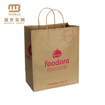 China Atacado Eco Friendly reutilizável cor personalizada compras Carry Brown Kraft Paper Bag Fabricante