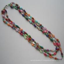 3 lignes lumineuses collier fait de Shell et cristal
