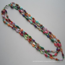 3 Rows Bright Necklace Made of Shell and Crystal
