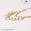 41678 xuping collier de bijoux double couche de bijoux en or 18 carats, bijoux bijouterie