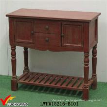 Pintado a mano Vintage consola Antiguo mesa de madera de color rojo
