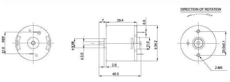 34mm frame size brushed 12v dc motors low voltage economical design