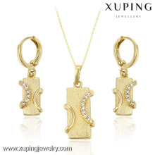 61415 Wholesale Fashion Design Copper Alloy Rectangle Crystal Gold Plated Jewelry Set