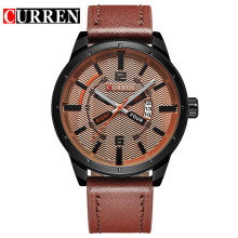 leather strap quartz watch with alloy case date frame design
