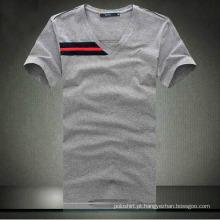 100% algodão homens qualidade V-pescoço apertado camiseta