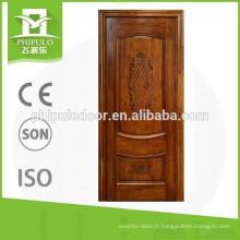 Porte en bois de teck intérieur à deux panneaux de conception unique fabriquée en Chine