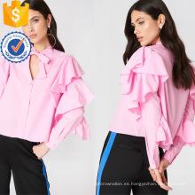 Capa de volante de algodón rosa con volantes de manga larga con cuello en v blusa Fabricación ropa de mujer de moda al por mayor (TA0038B)