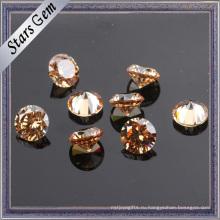 Круглый бриллиант огранки горячая Продажа шампанское CZ камень для ювелирных изделий
