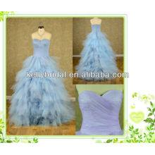2014 estilo novo azul / violeta vestido de noiva de tule com decote sweathreat