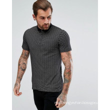 Slim Fit Paisley Polo Shirt in Black