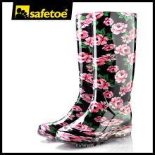 Botas de lluvia arco iris, botas de lluvia de caucho amarillo mujeres, botas de wellington rojo W-6040C