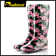 Rainbow rain boots, yellow women rubber rain boots, red wellington boots W-6040C