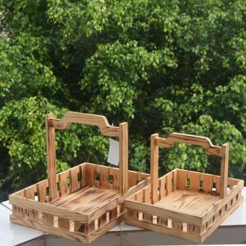 Rectangular Pine Solid Wood Storage Basket