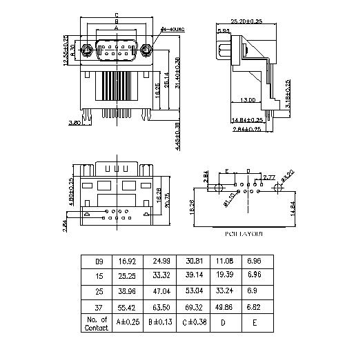 DR06-MXXXXX D-SUB PCB Male Dual Row Right Angle14.84mm