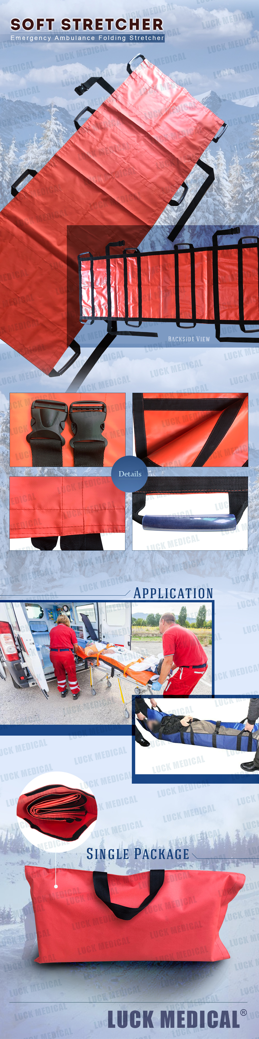 Carry bag-Portable Soft stretcher Folding Stretcher Impervious Emergency stretcher